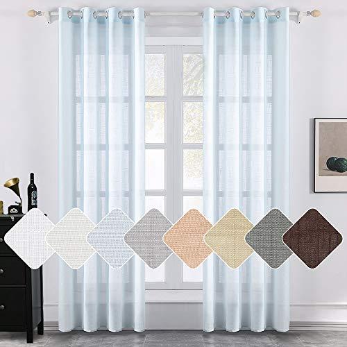 MIULEE 2 Panels Natural Linen Semi Sheer Window Curtains Elegant Solid Light Blue Drapes Grommet Top Window Voile Panels Linen Textured Panels for Bedroom Living Room (52X90 Inch)