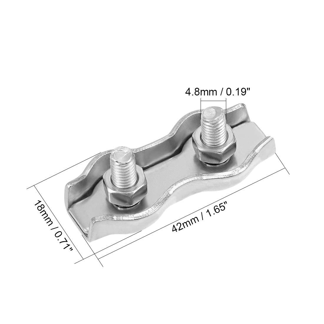 sourcing map Juego de Abrazadera broche perro sujetador de cable de acero inoxidable de tensi/ón d/úplex de doble cara sujetadores con doble tornillo para cable de acero de 2mm-3mm 4 piezas