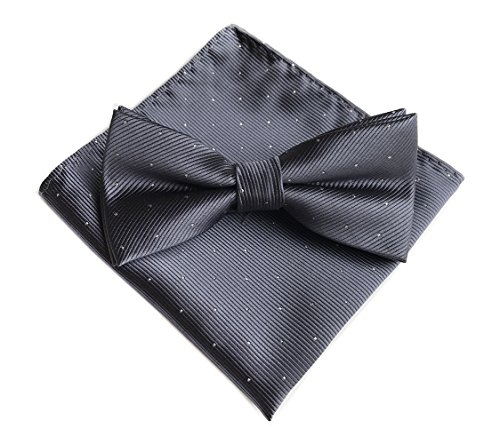 Big Boys Men's Dark Grey Bow Ties Adjustable Length Formal Tuxedo Solid (Charcoal Gray Tuxedo)