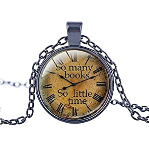 "FM42 Black-tone So many books So little time Round Pendant Necklace with 26"" Rolo Chain TN1101"