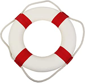 """Mercu Welcome Aboard Cloth Life Ring Navy Accent Nautical Decor 13.5"""" New for Decoration (25mm)-Red"""