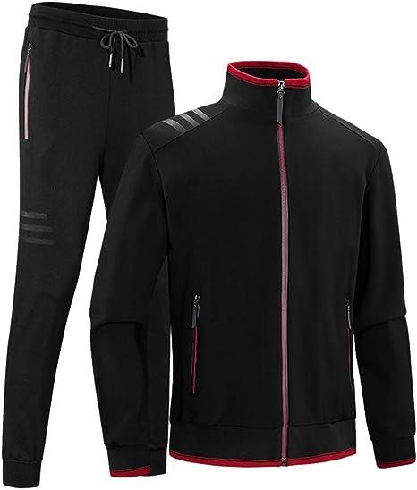 BLFGNCOB - Conjunto de 2 piezas de chándal deportivo para hombre con cremallera completa y bolsillos con cremallera Negro Negro (XS: Amazon.es: Ropa y accesorios