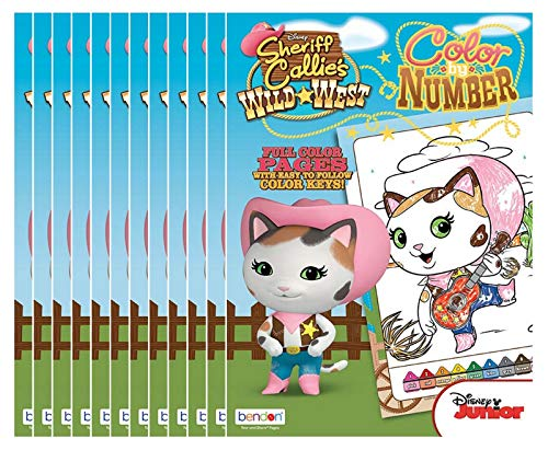 Disney Sheriff Callie Color by Number Coloring Book with Full-Color Border Guide (Pack of 12)