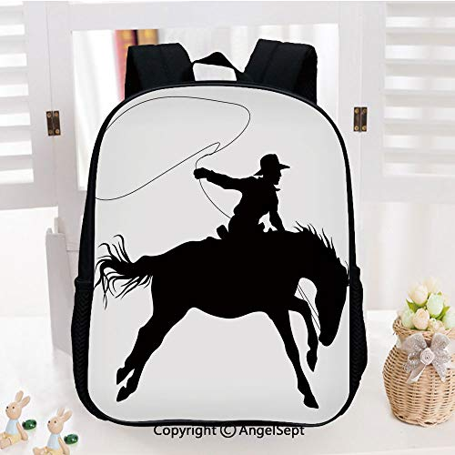 Kids Backpack Children Bookbag Silhouette of Cowboy Riding Horse Rider Rope Sport Country Western Style Art Preschool Kindergarten Elementary School Travel Bag for Girls Boys,Black and White