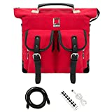 Lencca Unisex Canvas Knapsack Study Bag Large Duffle Carry-on Laptop Case For 15.6'' Asus Red & 6ft USB port charger & HDMI Cable