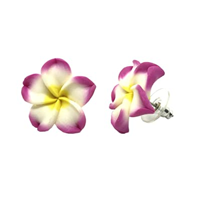Amazon hawaiian jewelry pink plumeria flower flower fimo hawaiian jewelry pink plumeria flower flower fimo polymer clay stud earrings 58quot mightylinksfo