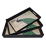 Cheung's Rattan Imports Peacock Tray, Black