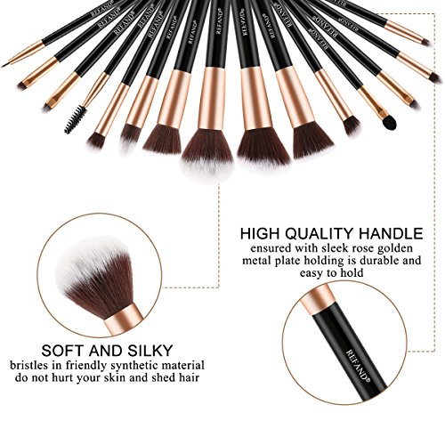 Refand Makeup Brushes, Face Brushes Cosmetics Kabuki Foundation Powder Concealers Blending Eye Shadows Professional Make Brushes Kit with Pu Leather Storage Bag Rose Gold Black