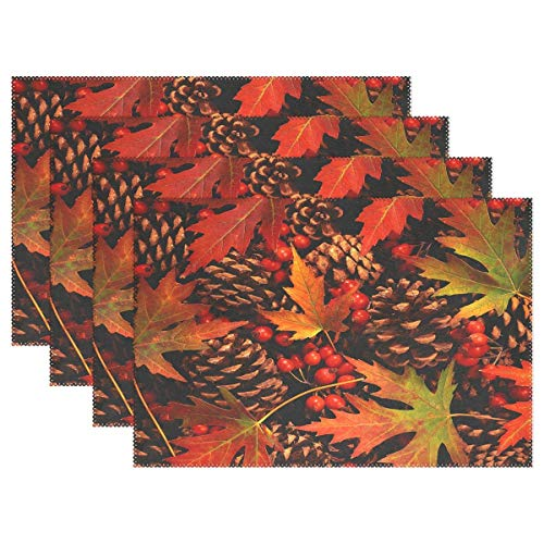 Promini Heat-Resistant Placemats, Autumn Pinecone with Red Fruit Washable Polyester Table Mats Non Slip Washable Placemats for Kitchen Dining Room Set of 4