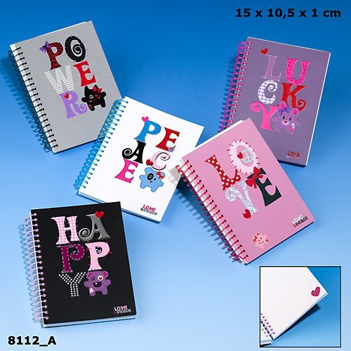 Love & Peace Notizbuch A6 Kalender Power grau schwarz Notizen Ringbuch