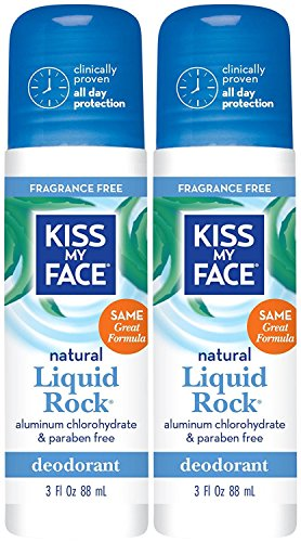 Kiss My Face Liquid Rock Roll-On Deodorant, Fragrance Free 3 oz (Pack of 2)