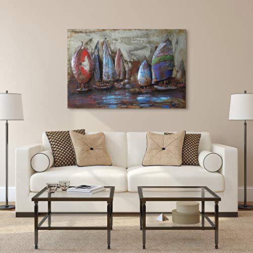 Empire Art Direct ''The Regatta 2'' Mixed Media Hand Painted Iron Wall Sculpture by Primo by Empire Art Direct (Image #3)