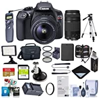 Canon EOS Rebel T6 DSLR 2 Lens Camera Kit w/EF-S 18-55mm f/3.5-5.6 IS II and EF 75-300mm F4-5.6 IIILenses - Bundle with 16/32GB SDHC Cards, Spare Battery, Video Light, Tripod, Software Pack and More