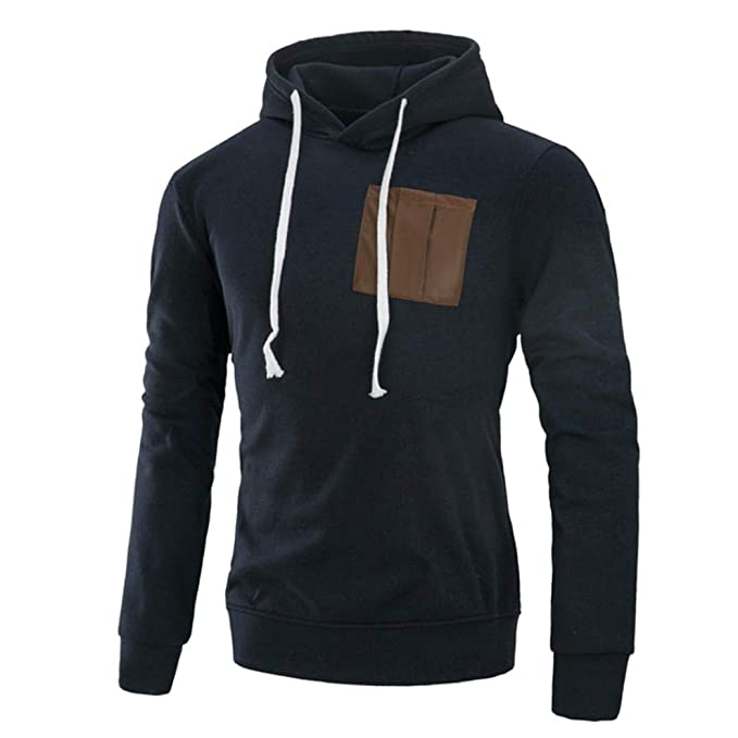 Yvelands Moda de los Hombres Casual Otoño Invierno Casual Empalme Sudadera con Capucha de Manga Larga Sudadera suéter Blusa Superior de la Capa: Amazon.es: ...