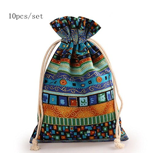 Startdy BL 10pcs Egyptian Style Jewelry Coin Candy Goodie Pouches Aztec Print Drawstring Gift Bag