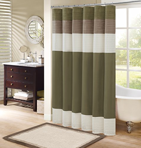 Comfort Spaces –Windsor Shower Curtain – Khaki - Brown – Panel Design - 72x72 inches (Shower Designer Fabric Curtains)