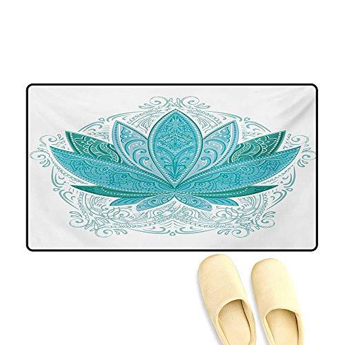 "Doormat,Lotus Flower with Ornaments Ethnic Exotic Petals Mehndi Traditional Boho Design,Bath Mats Carpet,Teal Sky Blue,32""x48"""