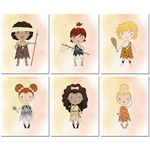 Prehistoric Dress Up Ideas (Cave Kids Prints - Set of 6 Art Decor (8 inches x 10 inches))