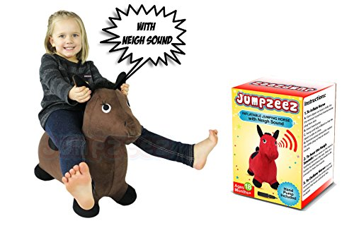 Riding Horse for Kids Inflatable Jumping Horse with Real Neigh Sounds – Hopping Horse Ride-On Toy for Toddlers – Strong Durable, Washable Fabric – 3 Unique Fun Colors – BONUS Free Pump & Plug Remover