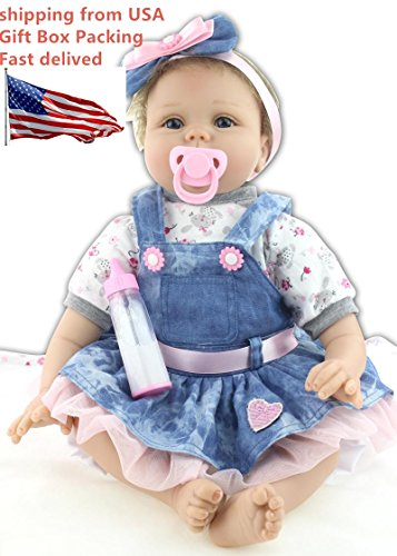 Binxing Doll Reborn Baby Doll 22 inches Beautiful Dress Soft Silicone Head+3/4 Limbs Weighted Cloth Body Newborn Baby Feel Eyes Open So Cute Lifelike Children's Toys for Birthday Holiday Gifts