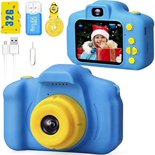 Desuccus Kids Camera HD 1080p Video Digital Camera for Kids Birthday Gifts for Boys and Girls Kids Toys 3-8 Year Old Toddler Video Record Camera 5 Puzzle Games 32GB SD Card