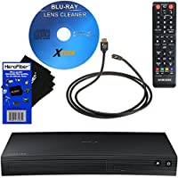 Samsung BD-J5700 Curved Disk Blu-ray Player with Wi-Fi + Remote Control + Xtech Blu-Ray Disc Laser Lens Cleaner + Xtech High-Speed HDMI Cable with Ethernet + HeroFiber Ultra Gentle Cleaning Cloth