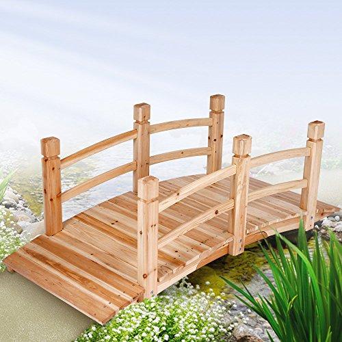 Jago Teichbrücke Gartenbrücke aus Holz mit Geländer, bis 200kg belastbar, 140x60x53cm