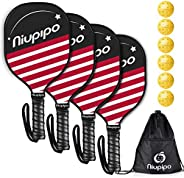 niupipo Pickleball Paddles, Pickleball Set 4 Paddles with 6 Balls and 1 Carry Bag, 7-ply Basswood Wood Pickleb