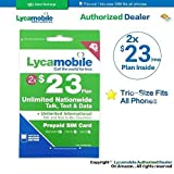 Lycamobile $23 plan preloaded sim card with 2 month service