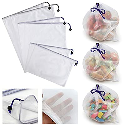 Hipiwe Earthwise Reusable Mesh/Produce Bags with drawstring, See-Through Eco Friendly Bags Grocery Produce Saver Bags Shopping & Storage Net Bags for Fruit,Vegetable, Produce