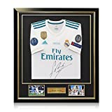 fifa champions patch - Sergio Ramos Signed 2017-18 Real Madrid Champions League Final Soccer Jersey In Deluxe Frame