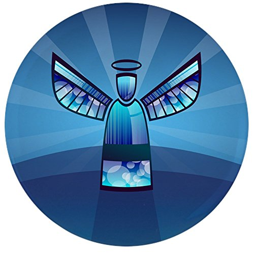 Pins Angel Heavenly - 3.5 Inch Button Contemporary Abstract Stained Glass Angel