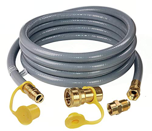 ANCOZY 12 Feet 1/2-inch ID Natural Gas Grill Hose with Quick Connect Propane Gas Hose Assembly for Low Pressure Appliance -1/2 Female Pipe Thread x 1/2 Male Flare Quick Disconnect CSA Certified