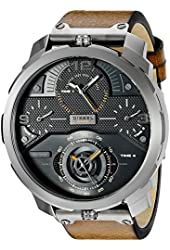 Diesel Men's DZ7359 Machinus Analog Display Quartz Stainless Steel Watch with Brown Leather Band