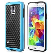 Fosmon® Samsung Galaxy S5 (DURA-HOLOGRAM) Stereoscopic Wall (2 in 1) TPU + PC Hybrid Case Cover for Samsung Galaxy S5 - Fosmon Retail Packaging (Blue)