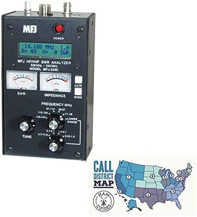 MFJ Antenna Analyzer, HF VHF, w Meters and Ham Guides TM Pocket Reference Card Bundle