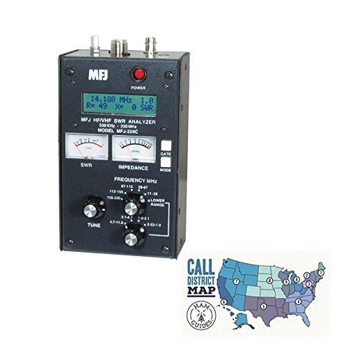 MFJ Antenna Analyzer, HF/VHF, w/Meters and Ham Guides TM Pocket Reference Card Bundle