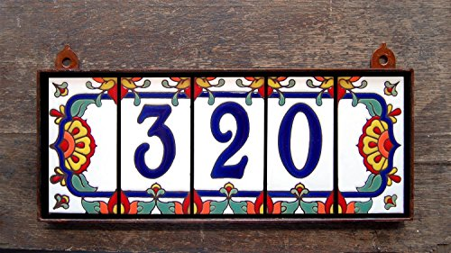 Custom 3 digit Talavera Style Tile House Number Address Plaque