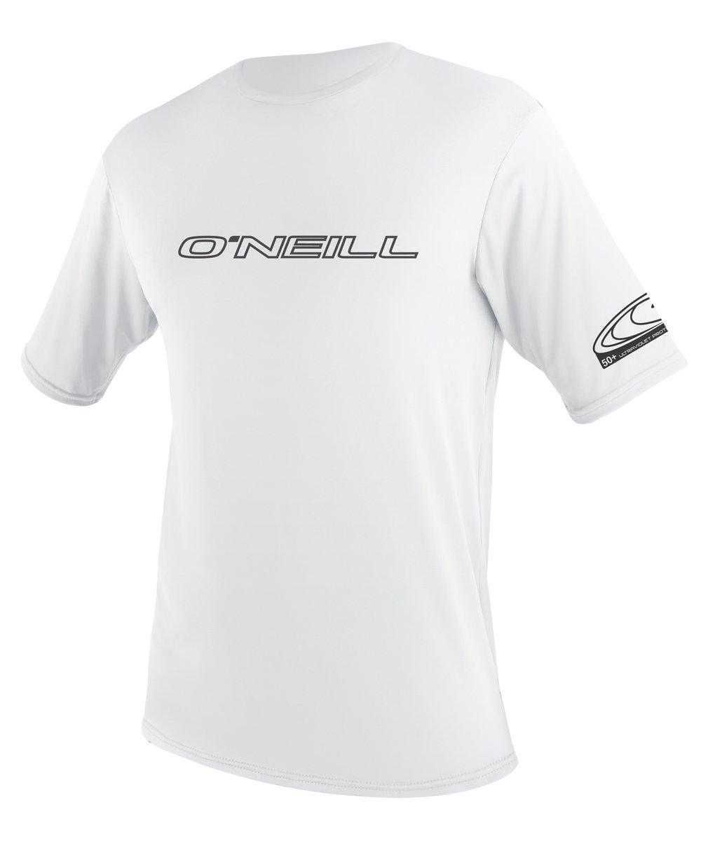 O'Neill UV 50+ Sun Protection Mens Basic Skins Short Sleeve Tee Sun Shirt Rash Guard, White, Large