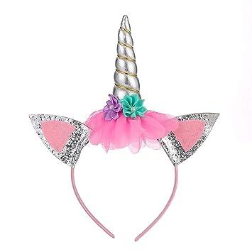 Gold Unicorn Horn Headband Glitter Ears for Birthday Party Cosplay Girl Decor