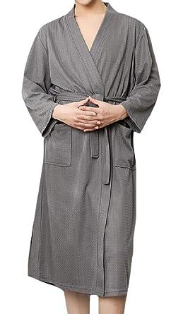 CuteRose Mens Mid Weight Waffle Knit Tie Waist Performance Knit Robe 11 2XL 2ebd29c44
