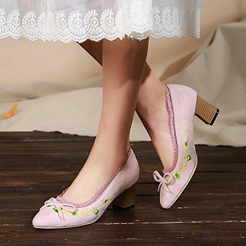 Ricamato Scarpe Bocca Beige Spessi GTVERNH Scarpe Tacchi Retro Dolce Solo Alti Di Superficiale Scarpe Con Primavera Arte Arco 6Cm UExxqZI