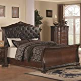 coaster maddison 202261kw california king sleigh platform bed with leatherette upholstered button tufted headboard ornate carved detailing and european