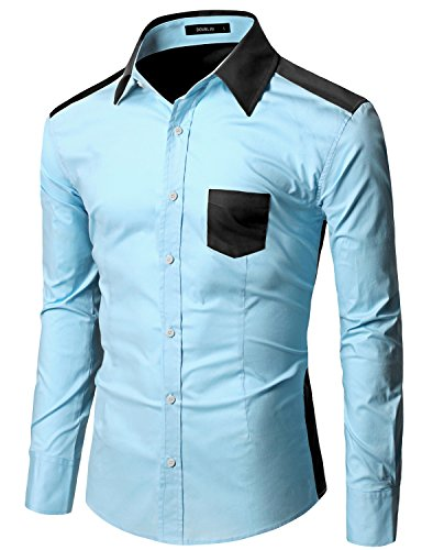 Doublju Men Simple Long Sleeve Color Detail Casual Dress Shirt Skybluecharcoal (Performance Brushed Twill Shirt)