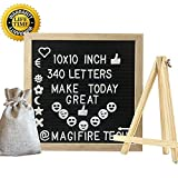 Changeable Felt Letter Board with 340 White Letters Numbers & Symbols 10x10 Inches Wooden Bulletin Message Board Sign Oak Wood Frame Wall Mount With Free Canvas Bag and Standing easel (Black, 10''x10'')