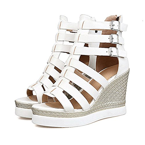 Size 10 Heel Heels Black Plus vovmi Sandals Wedge Zip Platform High White White Rome gxZZw7PT