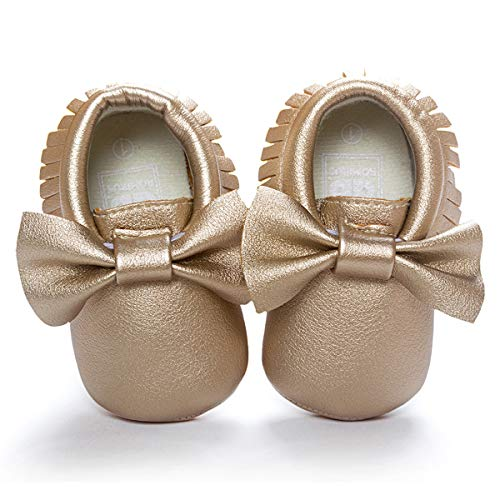 (LIVEBOX Infant Baby Girl Shoes, Soft Sole Bow Tassels Crib Shoes White Prewalker Toddler Mary Jane Princess Party Dress Shoes for 0-18 Months Babies (L:12-18 Months/5.12, Gold))