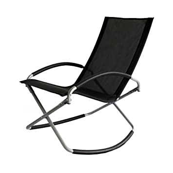 Gentle Slight Rocking Motion very relaxing Trueshopping Como Leisure Chair Foldable Black Easy Care Textilene Fabric Rocking Chair Light Convenient Practical and Stylish