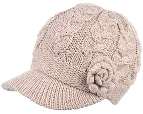BYOS Womens Winter Chic Cable Knitted Newsboy Cabbie Cap Beret Beanie Hat with Visor, Warm Plush Fleece Lined, Many Styles (Cable w/Flower Nature)