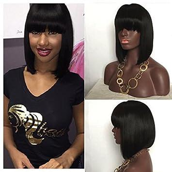 royal-first 7a Glueless Brazilian Virgin Human Hair Lace Front Short Bob parrucche Silky dritto per donne con frangia